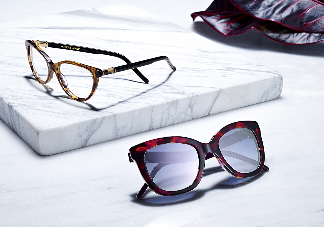 SUNGLASSES AND EYEWEAR BY ROBERT MARC SHOT ON MARBLE DAVID FILIBERTI