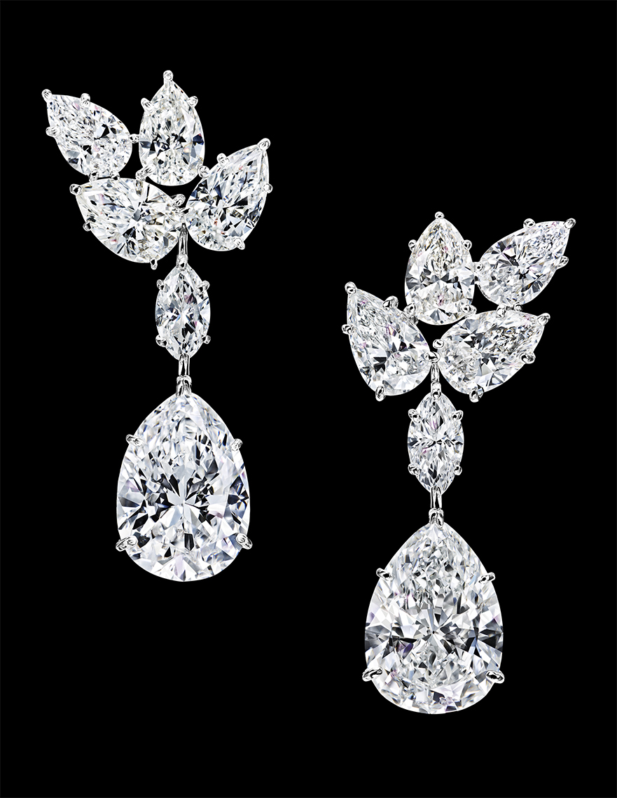 HIGH JEWELRY DIAMOND EARRINGS MADE BY HARRY WINSTON AND SHOT BY DAVID FILIBERTI