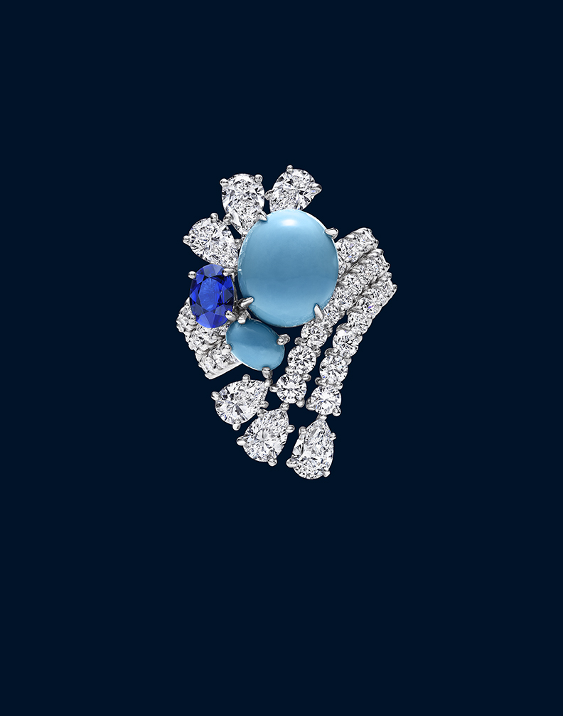 HIGH JEWELRY DIAMOND RING WITH PRECIOUS STONES MADE BY HARRY WINSTON AND SHOT BY DAVID FILIBERTI