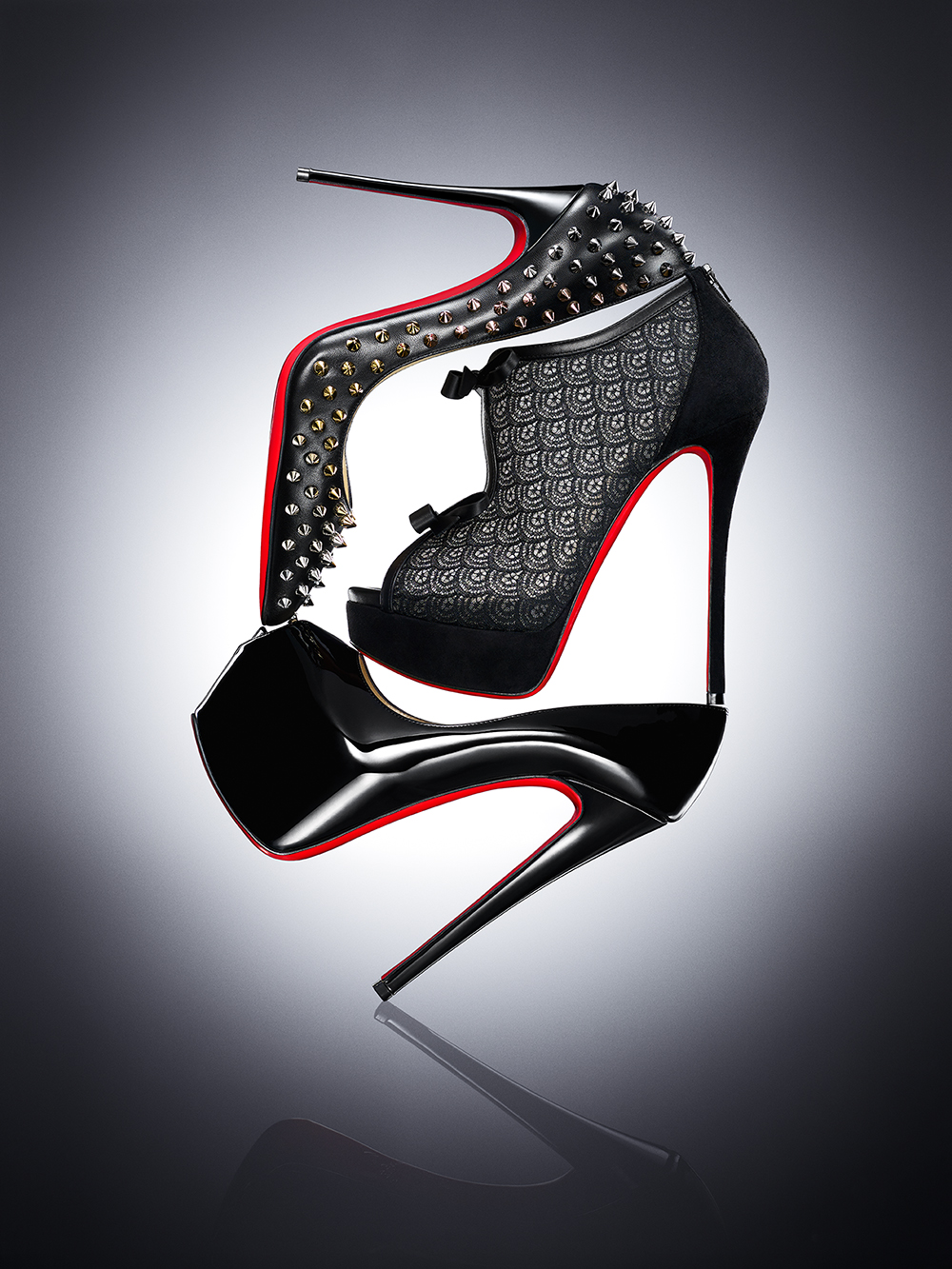 HIGHHEELS IN A STACK MADE BY CHRISTIAN LOUBOUTIN SHOT BY DAVID FILIBERTI