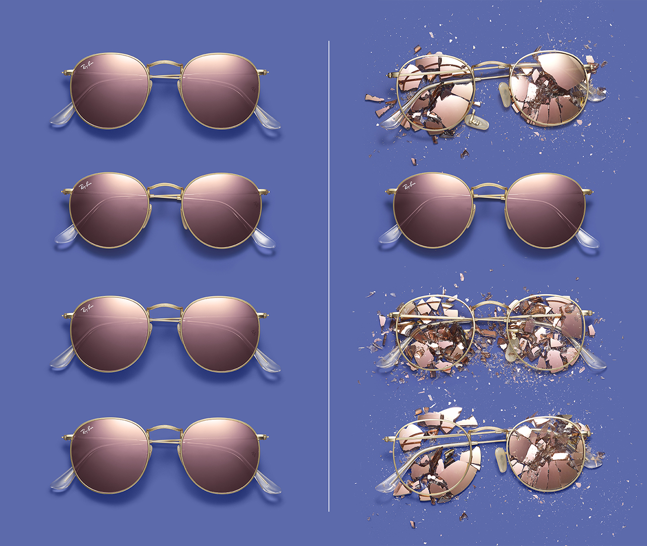RAYBAN ONE SUNGLASSES. COUNTERFEIT. BEFORE AND AFTER WITH FAKES SMASHED DAVID FILIBERTI