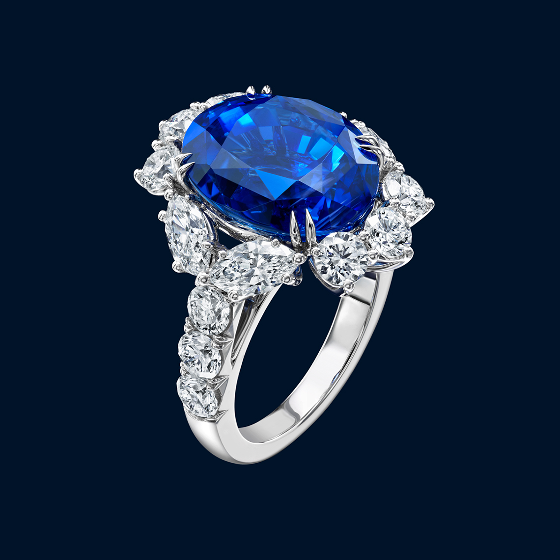 HIGH JEWELRY DIAMOND AND SAPPHIRE RING MADE BY HARRY WINSTON AND SHOT BY DAVID FILIBERTI