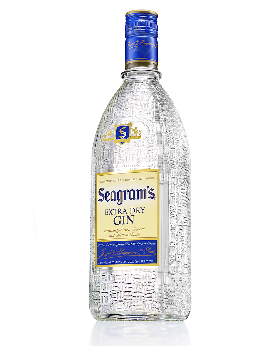SEAGRAMS GIN BOTTLE HERO SHOT ON WHITE BY DAVID FILIBERTI