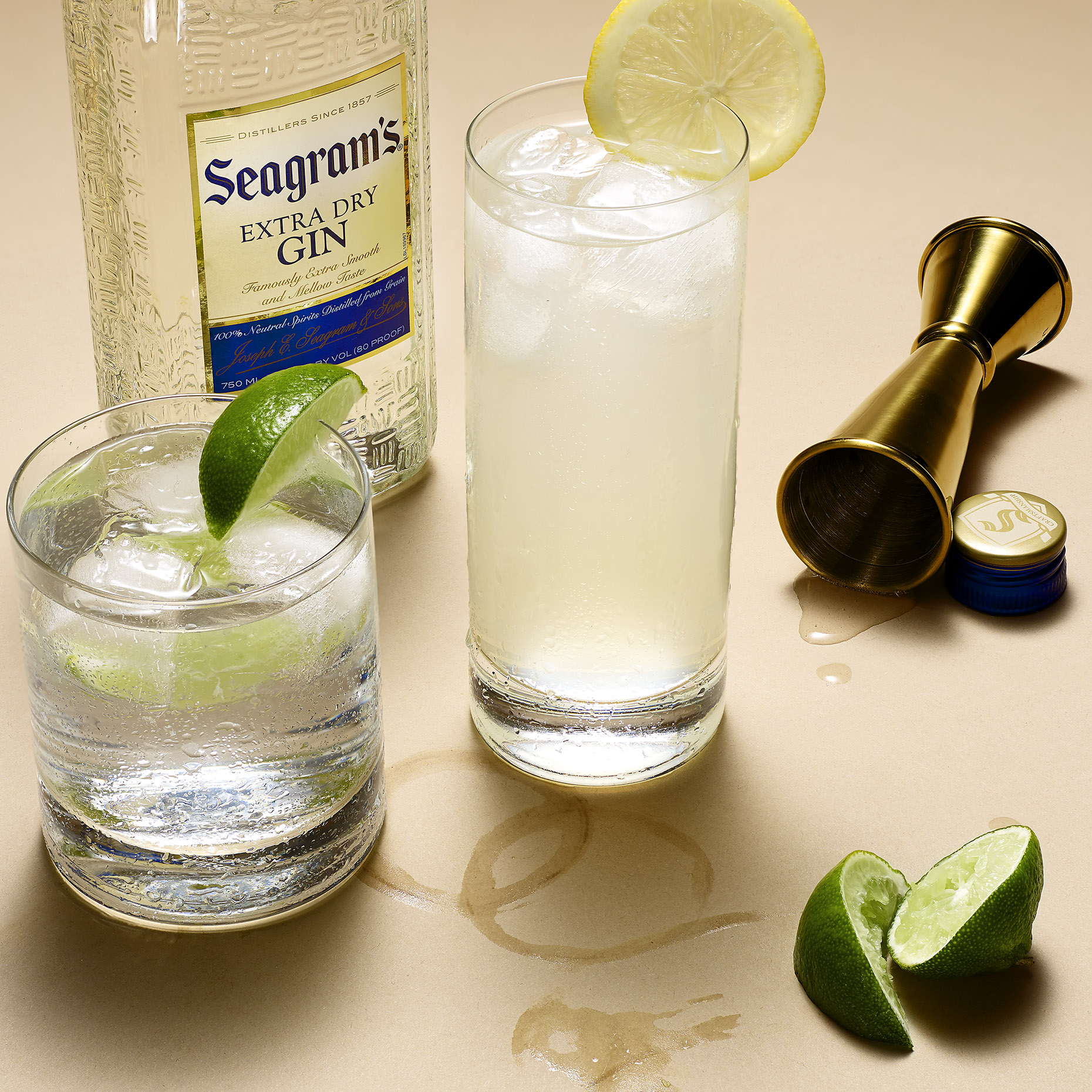STILL LIFE PARTY SCENE OF SEAGRAMS GIN TONIC AND LIMES SHOT BY DAVID FILIBERTI